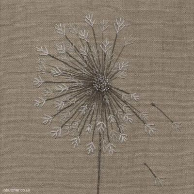 Dandelion on Linen, machine and hand embroidery by Jo Butcher