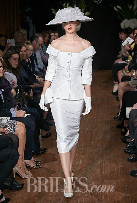 "Brides.com: Sarah Jassir - Fall 2014. ""Marlene"" wedding suit with portrait collar suit jacket and matching taffeta skirt, Sarah Jassir"