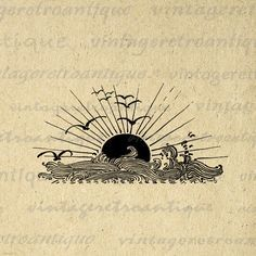 Digital Image Ocean Sunset Waves and Birds Download Setting Sun Printable Graphic Antique Clip Art for Transfers HQ 300dpi No.3068 by VintageRetroAntique on Etsy https://www.etsy.com/listing/119638229/digital-image-ocean-sunset-waves-and