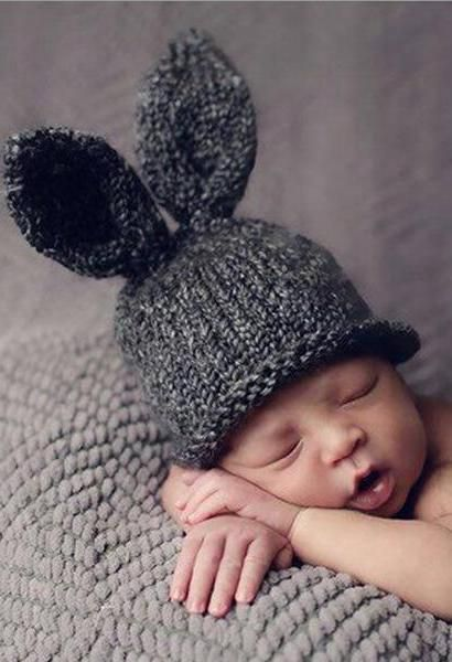 3b273ea48e0 Baby Rabbit Ears Knitted Hat Infant Toddler Winter Cap for Children 0-3  Months Girl Boy Accessories Baby Photography Props