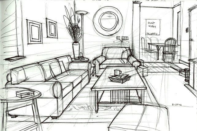 17 best images about teaching perspective on pinterest - One point perspective living room sketch ...