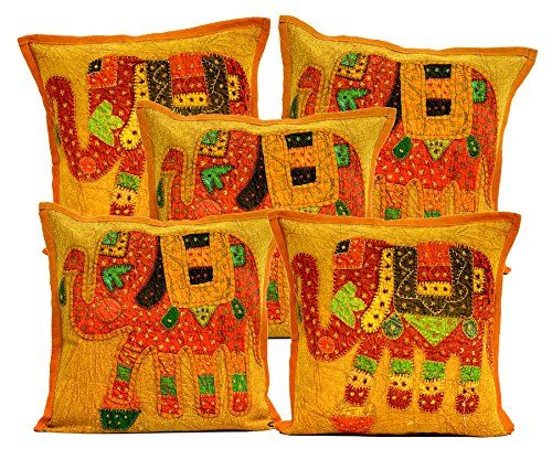 5 Brown Applique Patchwork Ethnic Indian Elephant Throw Pillow Cushion Covers Krishna Mart India http://www.amazon.com/dp/B011RKE584/ref=cm_sw_r_pi_dp_CCaywb123B4G5