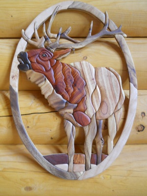 Elk Intarsia Wood Art