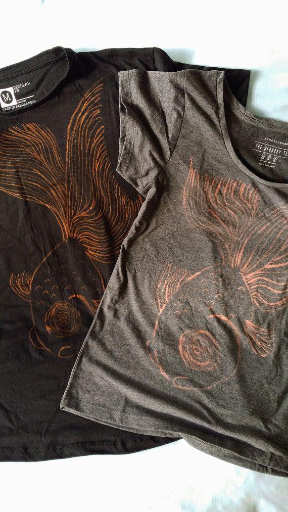 boy and girl stencil t-shirt gold fish black and grey bleach