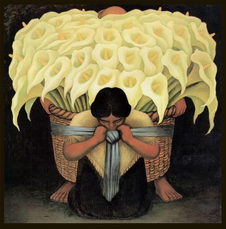 """Diego Rivera, The Flower Vendor, antique, lilies""""Vendedora de Flores, 24x24"""" ART"""