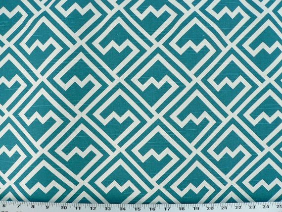 Teal Blue/Turquoise Geometric Fabric, Linen/Rustic Fabric, Designer Drapery/Upholstery/Home Fabric (1) Yard 36'' Length, 56' Width on Etsy, $14.85