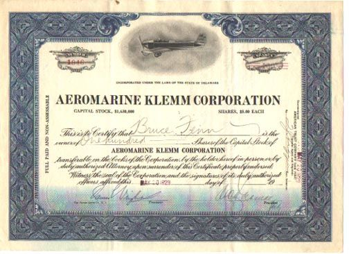 Aeromarine Klemm Corporation. Single engine,  open cockpit airplane. Delaware. 1929. Uncancelled