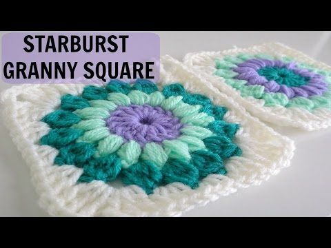 How to Crochet a Starburst Granny Square - YouTube                                                                                                                                                                                 More
