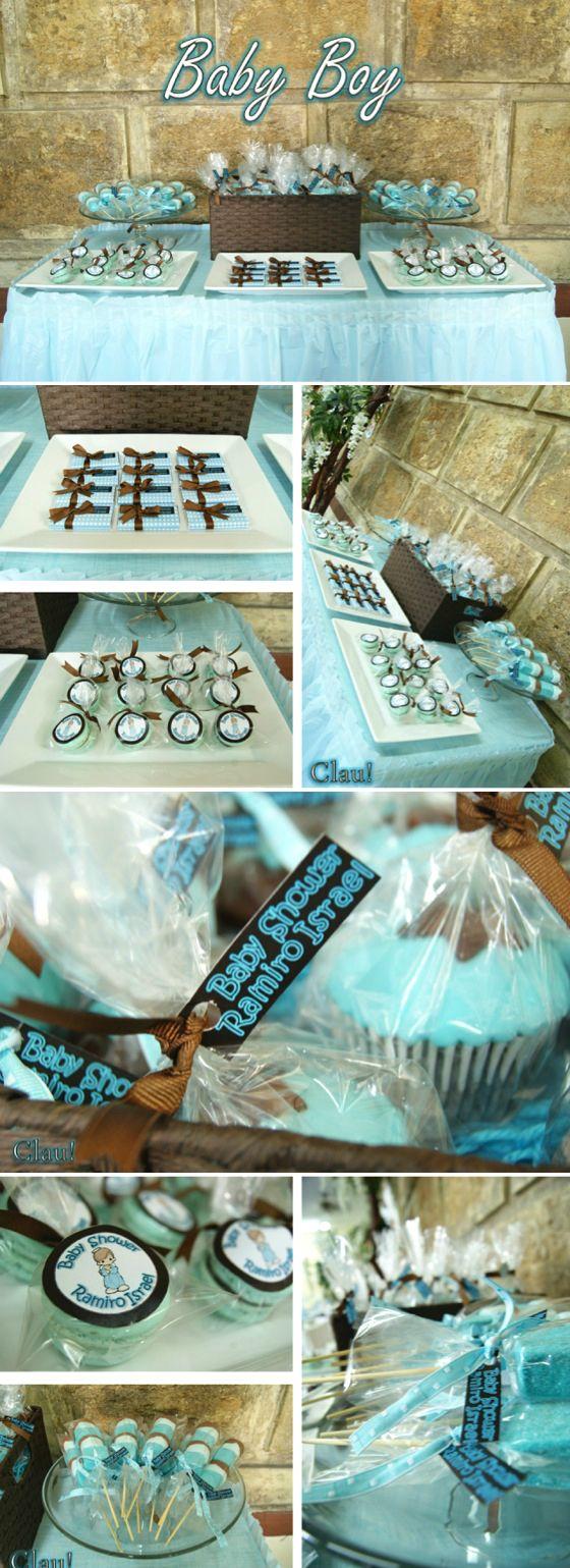 Baby Boy dessert table / Blue and brown color palette - Mesa de postres y dulces para baby shower de niño color celeste con café