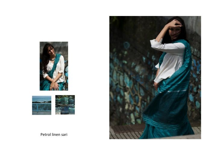 petrol yarndyed linen sari