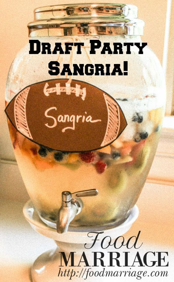 Whip up this Sweet White Sangria Recipe for your Girls Fantasy Football draft party this season! It's easy to make with white wine, sprite, kiwi, peaches, and strawberries! A refreshing way to end the summer and welcome the fall! Another idea - make a Football-shaped tag to tell your guests what it is!
