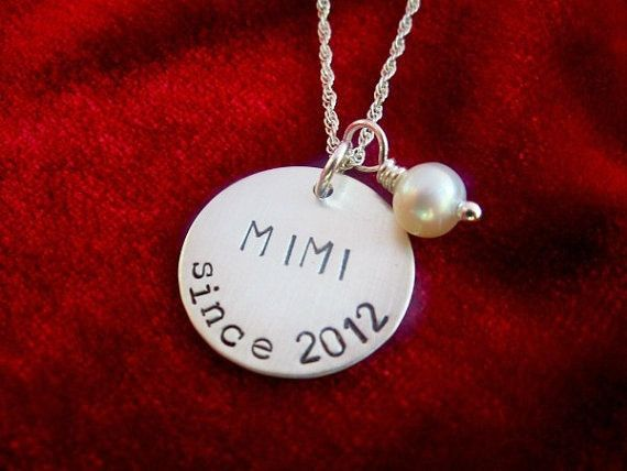 Grandmother Sterling Silver Hand Stamped Necklace by OohSoCharming, $33.00-Gift Idea