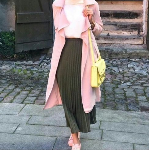 This outfit gave me the idea to wear my pink drape trench, white T-shirt, dark green pleated skirt, white sneakers, neon yellow crossbody purse, and a statement bead necklace that brings out the colors of pink, green, and neon yellow from outfit.