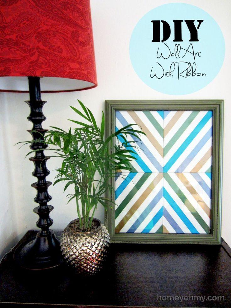 Wall Decorations With Ribbon : Diy wall art with ribbon and