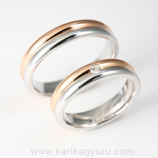 Fehér és vörös arany kombinációjával készülő karikagyűrű pár. A női gyűrűben 0.05ct G/vs minősítésű briliással. Készülhet 14K és 18K-os aranyból is.  https://www.facebook.com/www.karikagyuru.com.karikagyuruk.eljegyzesigyuruk?ref=hl