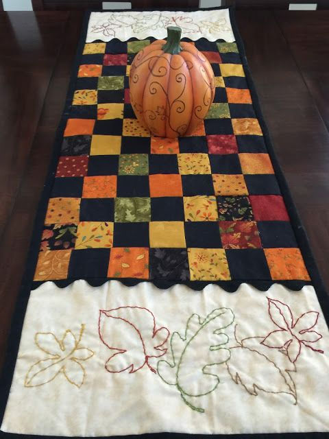 Attractive Fall Quilt with embroidery. Just Because Quilts