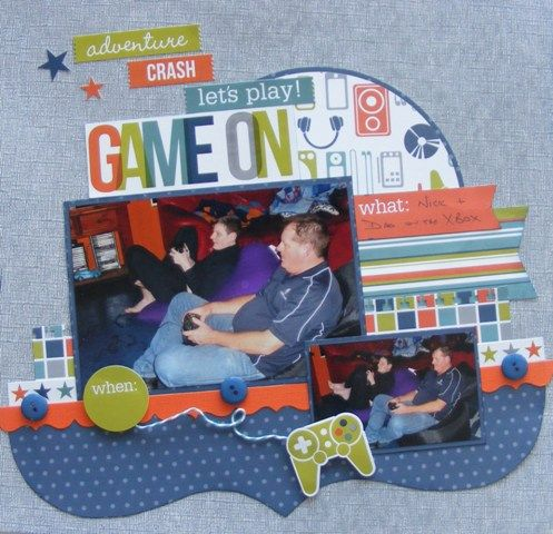 Boys page created with Echo Park, Game On! collection by Leonie for My Scrappin' Shop.