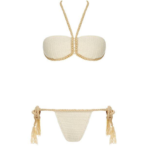 Lisa Maree 'Tell Me Lies' Rope Bikini Set ($67) ❤ liked on Polyvore featuring swimwear, bikinis, neutrals, bandeau bikini top, bandeau top bikini, tassel bikini, bikini swimwear and bikini two piece
