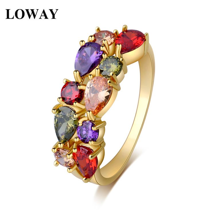 LOWAY  Gold Plated New Fashion Women Vacation Rings AAA Cubic Zirconia Lady Finger Ring Professional Jewelry Factory JZ5878