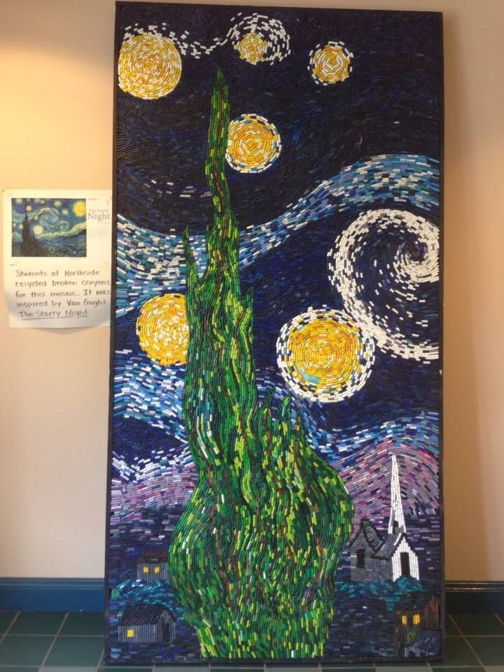 Martha Smith off facebook-- Wondering what to do with old crayon nubs? Mosaics! Have early finishers peel crayon nubs. We used insulation board 4'x8' and our high school shop class built a frame to keep it from flexing. Used Elmer's glue all to attach. Now we are doing one inspired by The Eclipse by alma Thomas.