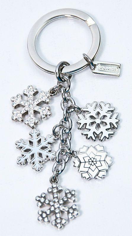 Rare Coach silver pave snowflake key chain; $40
