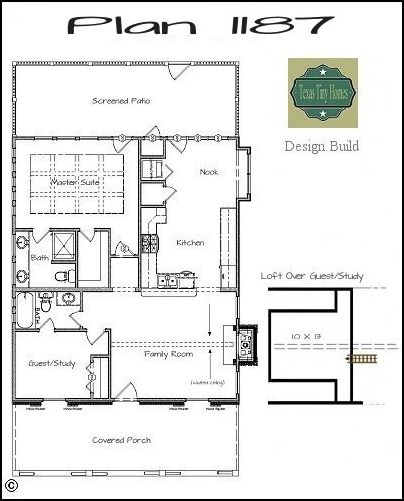 Small Homes That Use Lofts To Gain More Floor Space: Plan 1187. 1787 Sq. Ft. 2 Bedrooms. 2 Full Bathrooms
