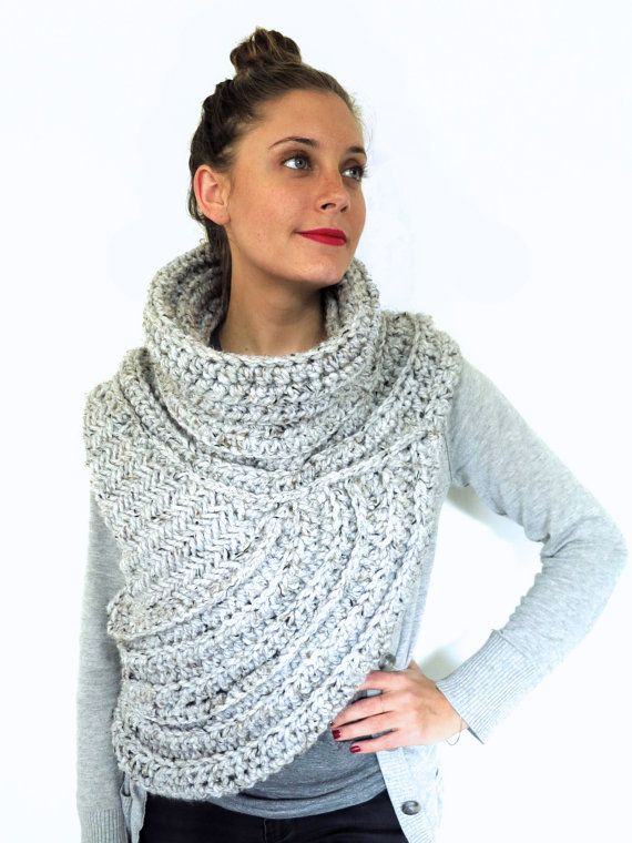 PATTERN for Chunky Knit Crochet Asymmetric Cowl Vest Shawl Scarf One Armed //...