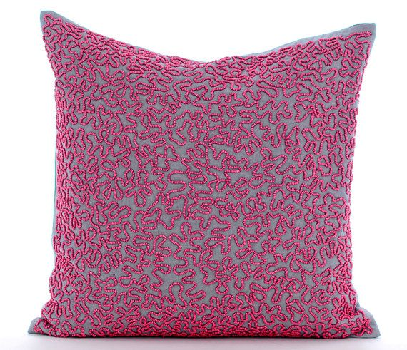 Dream Catcher - 16x16 Inches Pink Bead Embroidered Grey Linen Throw Pillow.