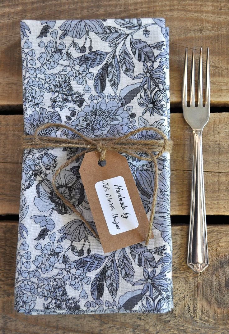 Grey, Light Blue Floral Print Set of 4 Handmade Cotton Linen Napkins with Mitred Corners. Visit my Etsy Store for sales.