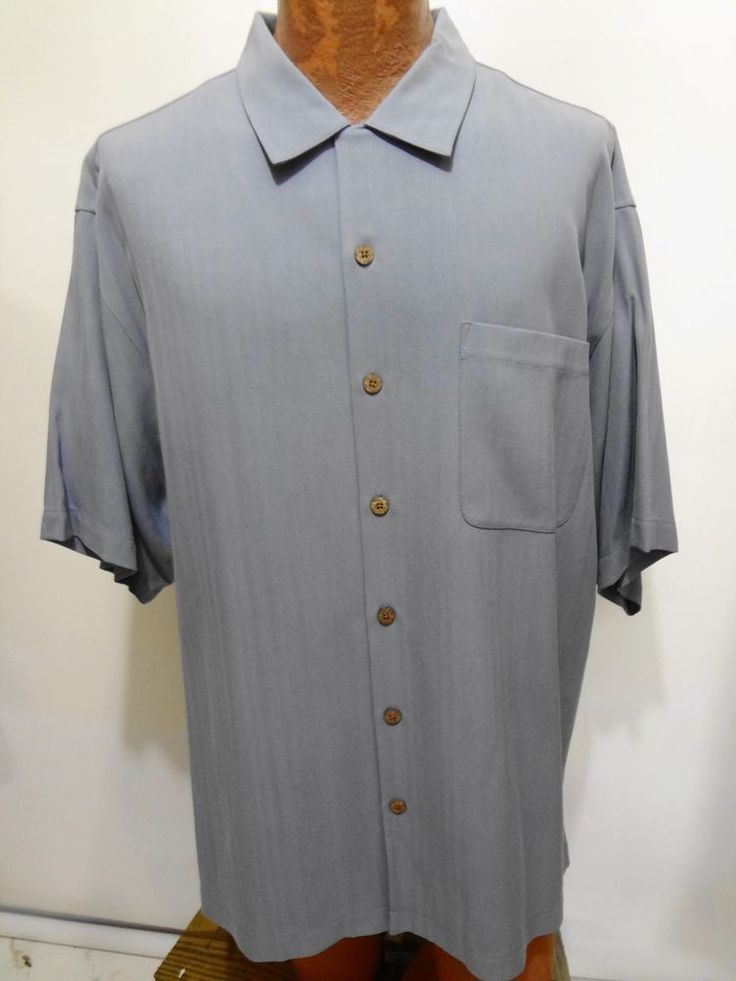Tommy Bahama Solid Blue Short Sleeve Silk Camp Shirt Mens