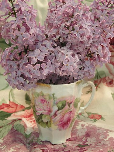 lilacs in pretty rose teacup