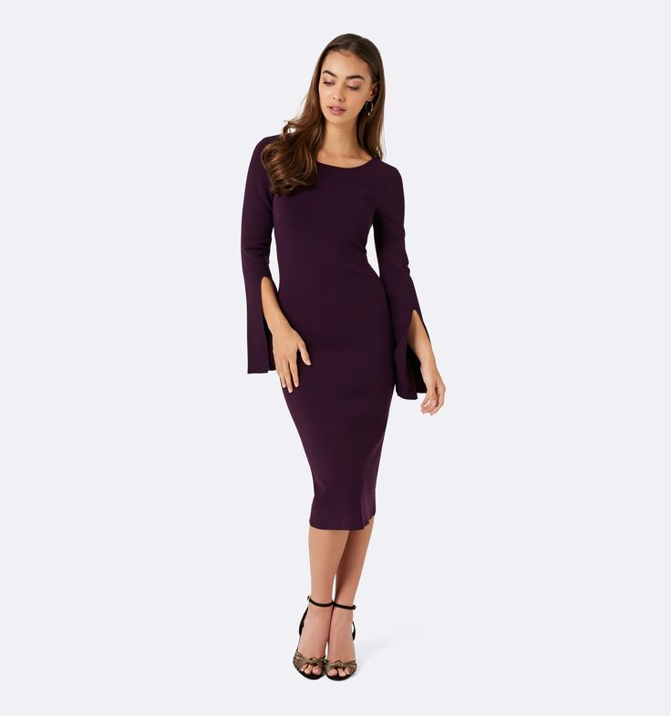 Ellie Flare Sleeve Scoop Back Dress Blackberry - Womens Fashion   Forever New