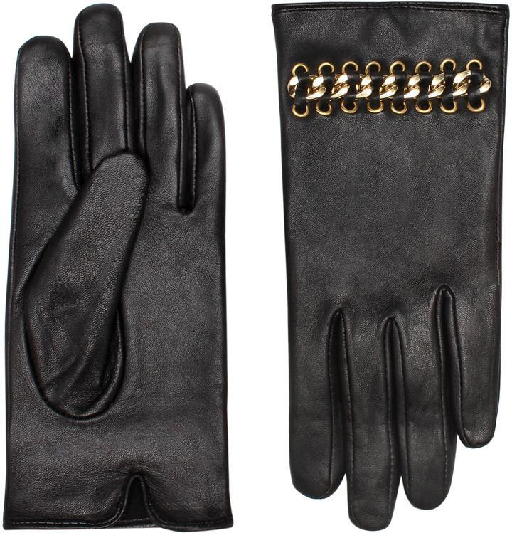 in BLACK Leather   Chain Gloves