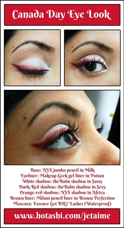Canada Day makeup look - white lids with red eyeliner, inspired by the 4th of July look by @Kristal Garcia Geek