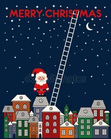 Скачать - Веселая Рождественская открытка с Санта-Клауса, Старый город, ночное небо, лестница на синем фоне — стоковая иллюстрация #83375370