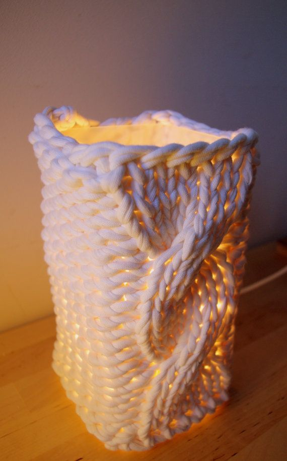 Knitted lampshade for Ikea Grono, $20. For my knitting room!