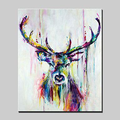 Peint à la main Abstrait / Animal / POPModern Un Panneau Toile Peinture à l'huile Hang-peint For Décoration d'intérieur de 4985804 2016 à ₣69.11