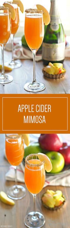 Apple Cider Mimosas are a great addition to a fall table—your guests are sure to love the sweet apple cider switch. #Ad
