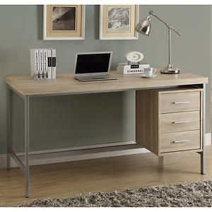 Taylor Hollow-Core Office Desk Silver Metal and Natural Reclaimed Wood-Look