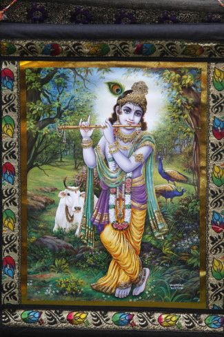 Krishna Tapestry in Bhaktivedanta Manor Iskcon (Hare Krishna) Temple Photographic Print - AllPosters.co.uk