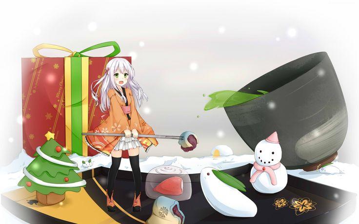 Dziewczyna, Prezent, Święta, Anime