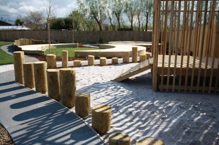 New Shoots Childrens Centre - winding paths, stumps, sand, grass + play structures create a varied environment to be explored.