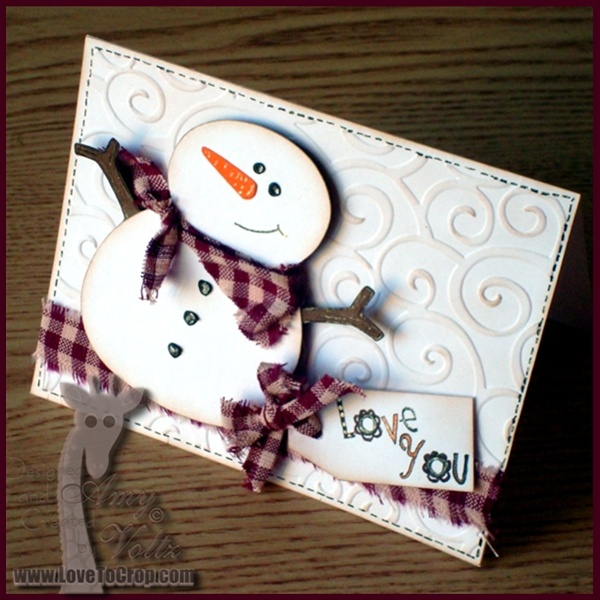 Shabby Prim Snowman Card...with homespun scarf & bow with tag.