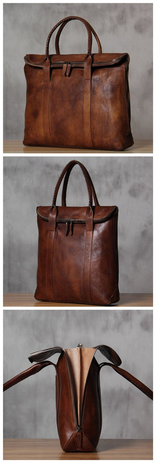 ROCKCOW 15 Inches Vintage Genuine Leather Briefcase, Messenger Bag, Laptop Bag