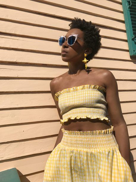 $20 - $60 Summer Spring Perfect Beachwear Festival Style Outfit Lemon Yellow And White Checked Gingham Matching Two Piece Co-Ord Set Tube Top And High Waisted Skirt Tumblr