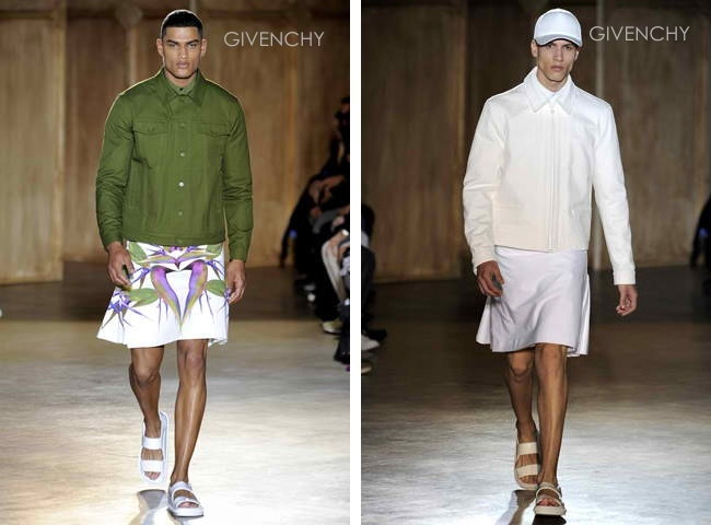 Givenchy Fall 2012 Menswear; skirts worn with jackets have roots in bases worn by men during the Northern Renaissance