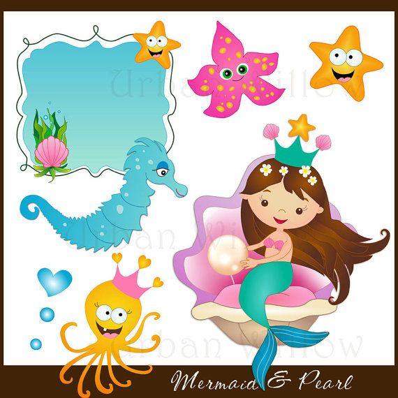 MERMAID & PEARL clip art set Png and Jpeg by LittlePumpkinsPix