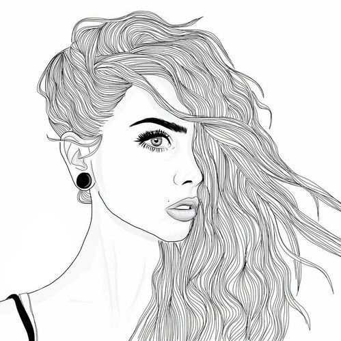 Art Black And White Draw Drawing Girl Grunge Hair Outline