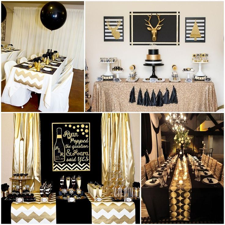 16 Amazing Contemporary Home Bars For The Best Parties: Black And Gold Party Table Decorations