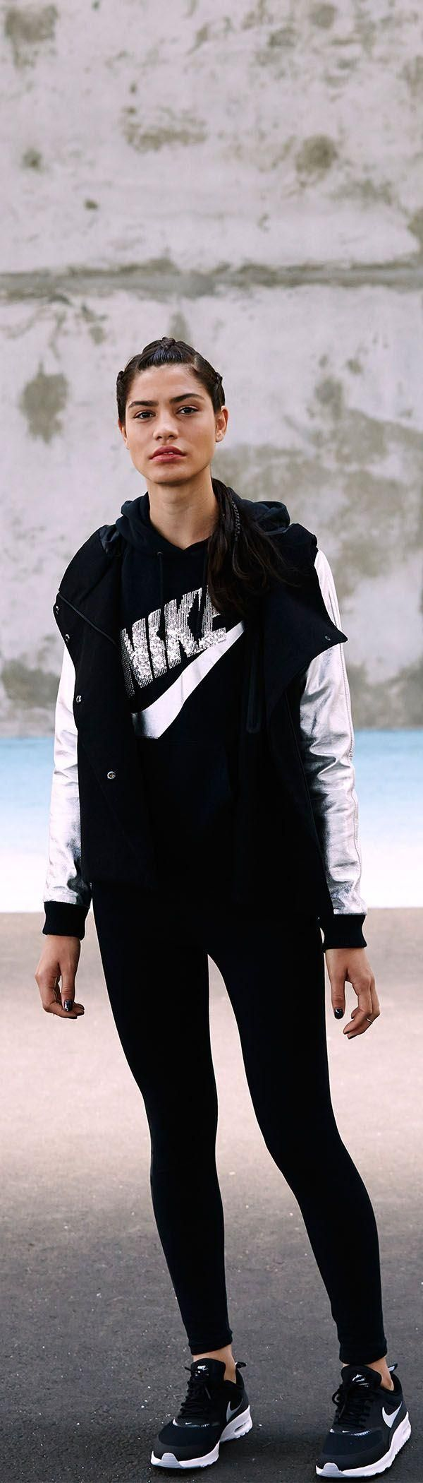 Beat winter at its own game. Rock a look with a classic style and modern fit. The Nike Destroyer Butterfly Jacket, Rally Sequin Pullover, Leg-A-See Logo Shine Leggings and Air Max Thea shoe.  | Check out their website for more Fitness Gear for Ladies. Super nice stuff that they carry